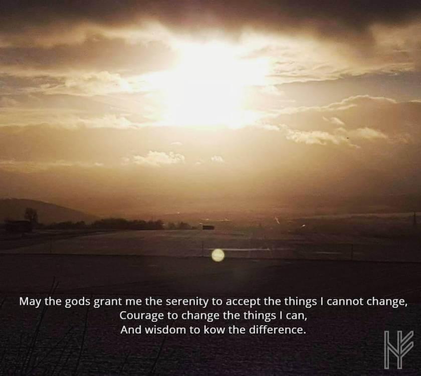 Landschaft mit Text Gelassenheitsgebet
