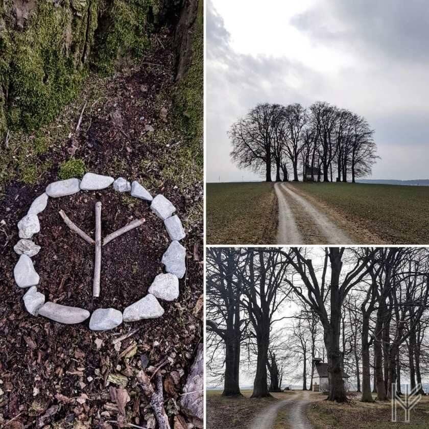 Bildmix aus Algiz-Rune mit Steinkreis und Schonlau