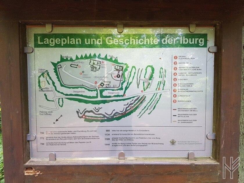 Lageplan der Iburg mit Chronik