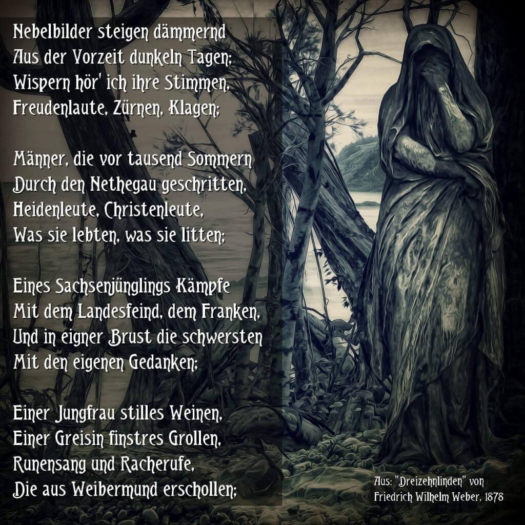"""Trauernde Frau mit Textauszug von """"Dreizehnlinden"""""""
